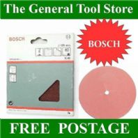 BOSCH PACK 5 40 GRIT COARSE 125MM SANDING SHEETS DISCS FOR  A DRILL BACKING PAD